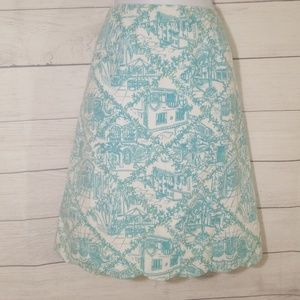 """🚨🚨""""Lilly Pulitzer"""" green and white skirt size 10"""